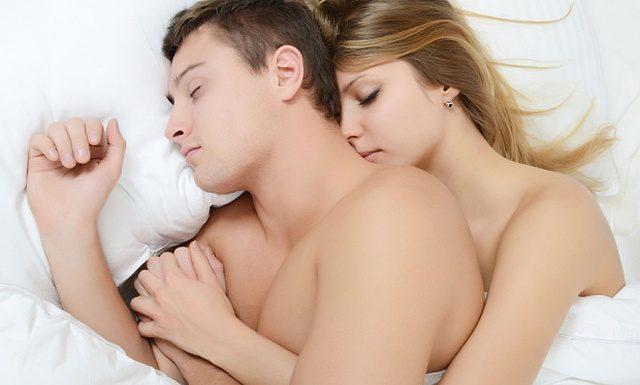 Couple sleeping naked