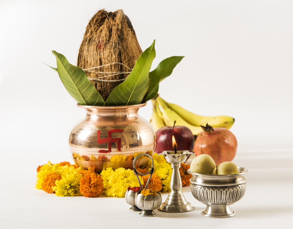 how to put coconut on kalash in navratri