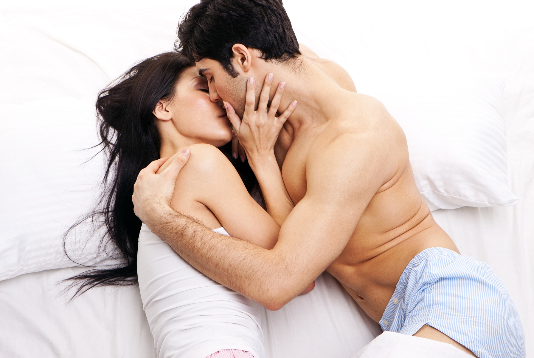 romantic couple in bed room