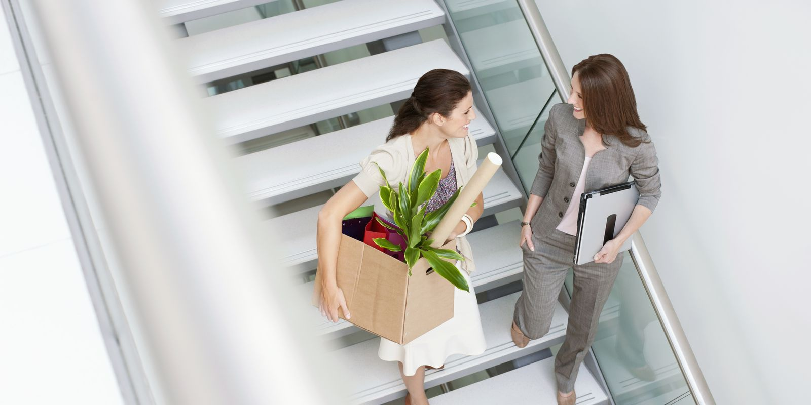 Women walking down stairs