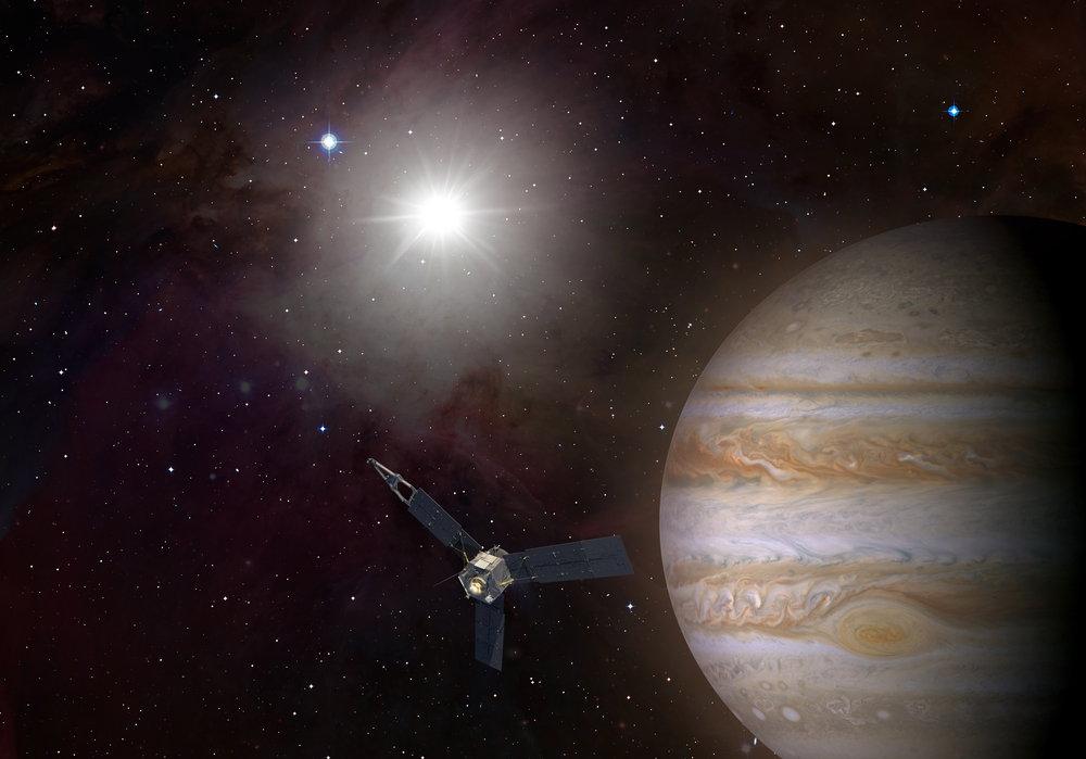 बृहस्पति के ऊपर उड़ता अंतरिक्ष यान जूनो